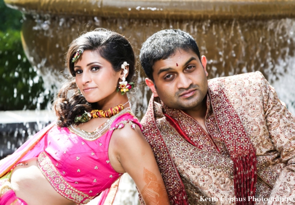 Indian-wedding-portrait-groom-bride-fountain