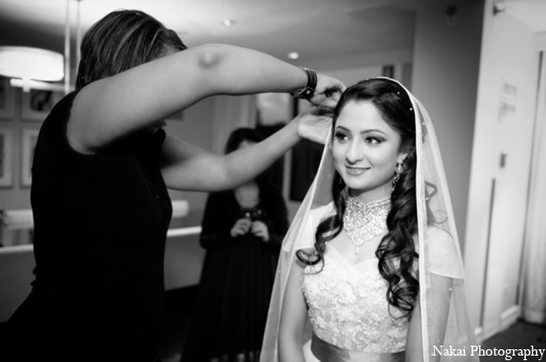 Indian bridal hair in Chicago, Illinois Pakistani Fusion Wedding by Nakai Photography