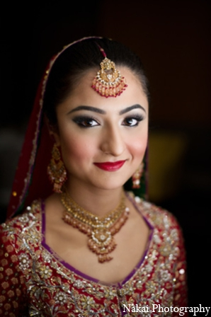 Indian wedding bridal hair accessories in Chicago, Illinois Pakistani Fusion Wedding by Nakai Photography