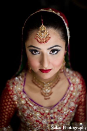 Indian wedding bride makeup in Chicago, Illinois Pakistani Fusion Wedding by Nakai Photography
