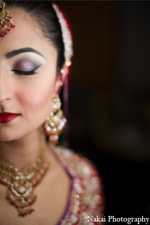 Indian wedding makeup look in Chicago, Illinois Pakistani Fusion Wedding by Nakai Photography