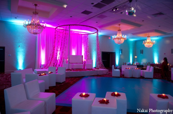 Featured Indian Weddings,teal,hot pink,white,Lighting,Planning & Design,indian wedding decor,indian wedding decorations,Nakai Photography