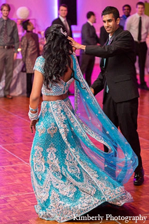 Indian wedding bride groom blue lengha reception in Palm Harbor, Florida Indian Wedding by Kimberly Photography