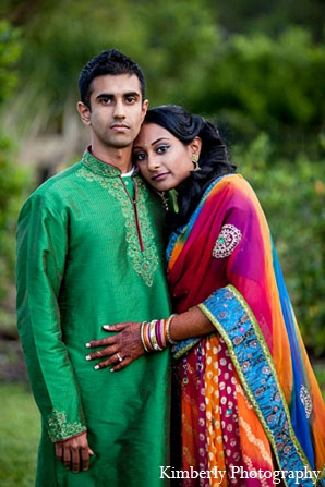 Indian wedding bride groom colorful lengha portraits in Palm Harbor, Florida Indian Wedding by Kimberly Photography