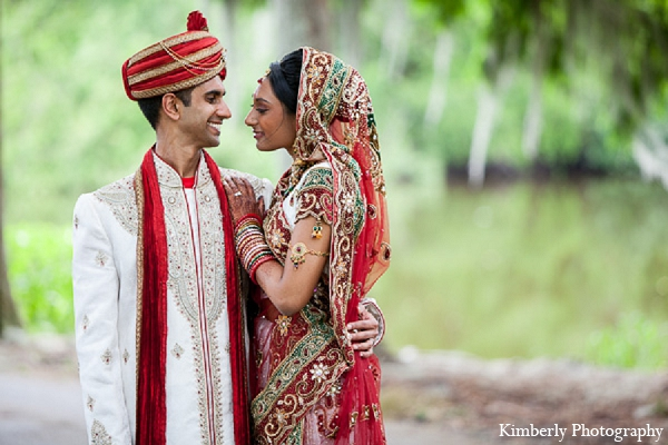 Indian wedding bride portraits groom in Palm Harbor, Florida Indian Wedding by Kimberly Photography