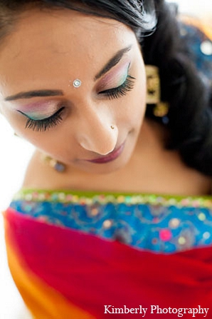 Indian wedding colorful makeup bride in Palm Harbor, Florida Indian Wedding by Kimberly Photography