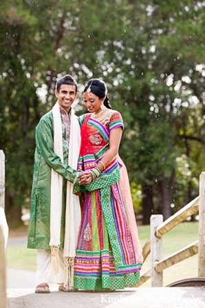 Indian wedding garba night colorful lengha in Palm Harbor, Florida Indian Wedding by Kimberly Photography