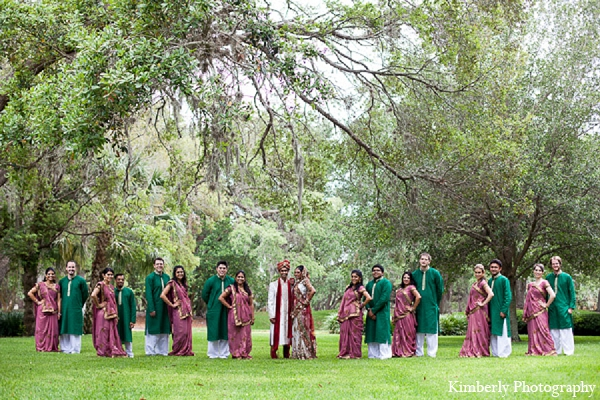 Indian wedding portraits bridal party in Palm Harbor, Florida Indian Wedding by Kimberly Photography