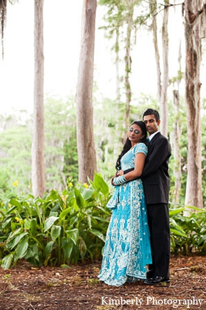 Indian wedding portraits reception blue lengha in Palm Harbor, Florida Indian Wedding by Kimberly Photography