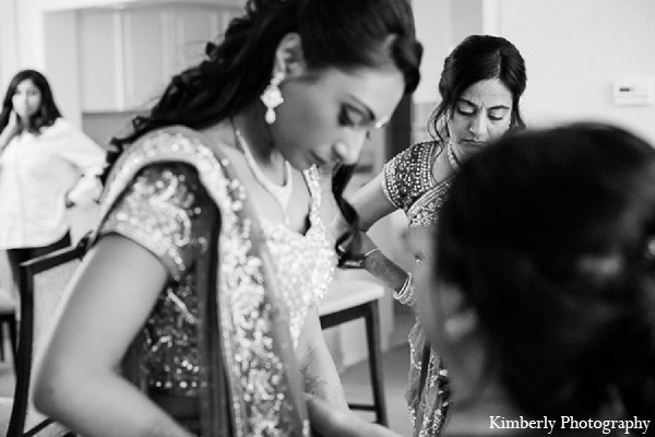 Indian wedding reception bride getting ready in Palm Harbor, Florida Indian Wedding by Kimberly Photography