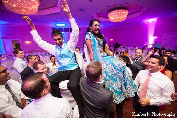 Indian wedding reception bride groom dance in Palm Harbor, Florida Indian Wedding by Kimberly Photography