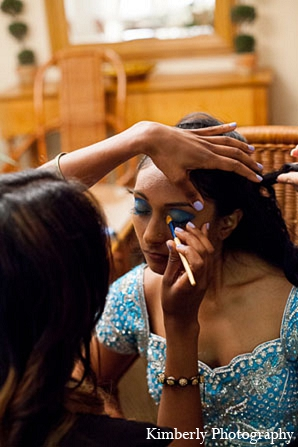Indian wedding reception bride makeup in Palm Harbor, Florida Indian Wedding by Kimberly Photography