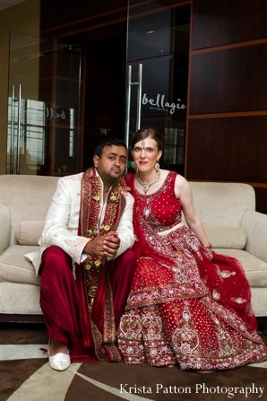 Indian wedding fusion couple bride groom traditional lengha sherwani