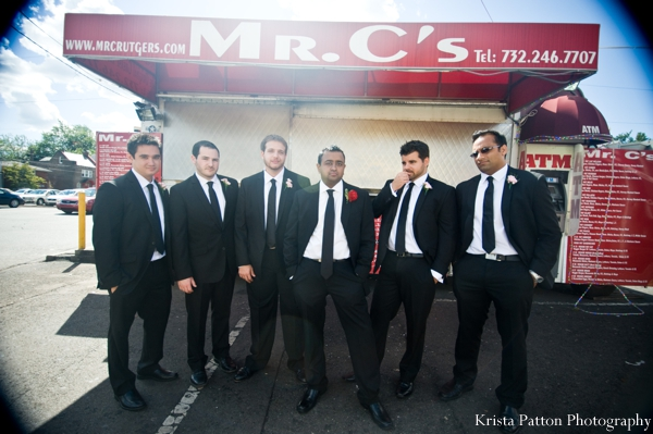 Indian wedding groom groomsmen portrait