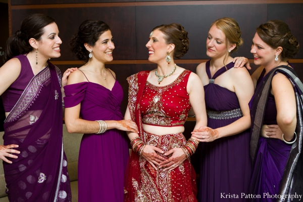 Indian wedding portrait bridal party fusion wedding