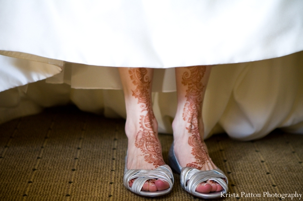 indian wedding white gown henna on feet portrait