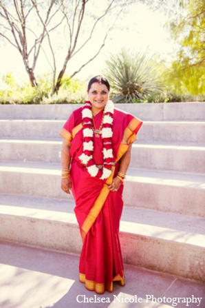 Indian wedding bride portrait fashion floral red white gold