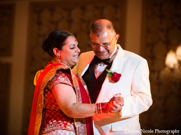 Indian wedding dance reception red white