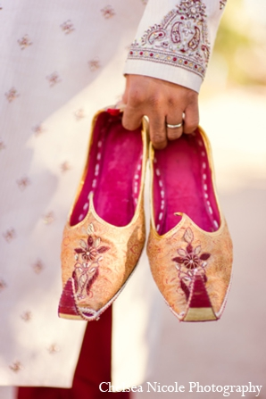 Indian wedding groom shoes gold magenta baraat