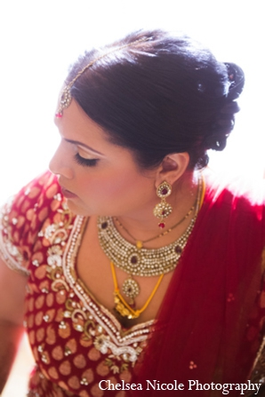 Indian wedding hair makeup jewelry red gold