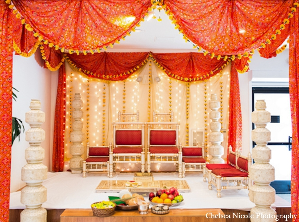 Indian wedding mandap decor red white gold