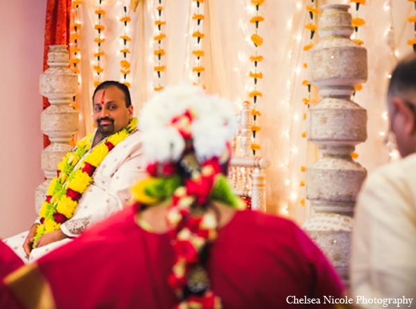 Indian wedding mandap groom white