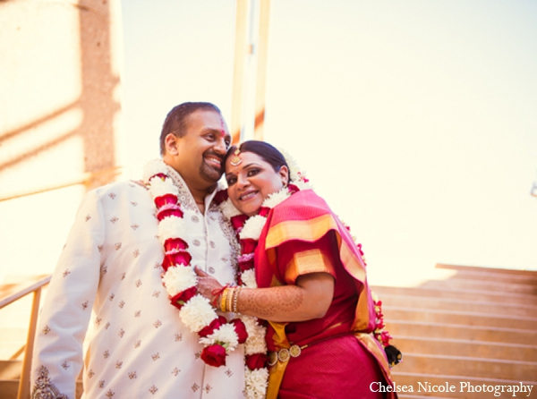 Indian wedding portrait red gold white