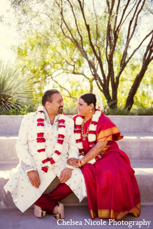 Indian wedding portrait red white gold clothing