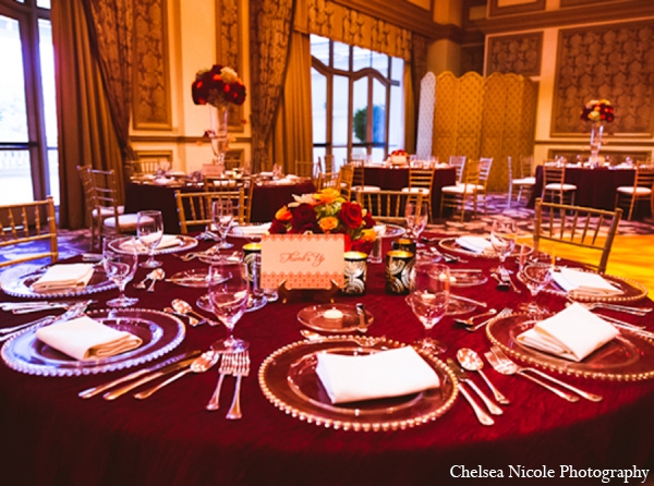 Indian wedding reception decor table setting