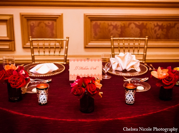 Indian wedding reception sweetheart table decor
