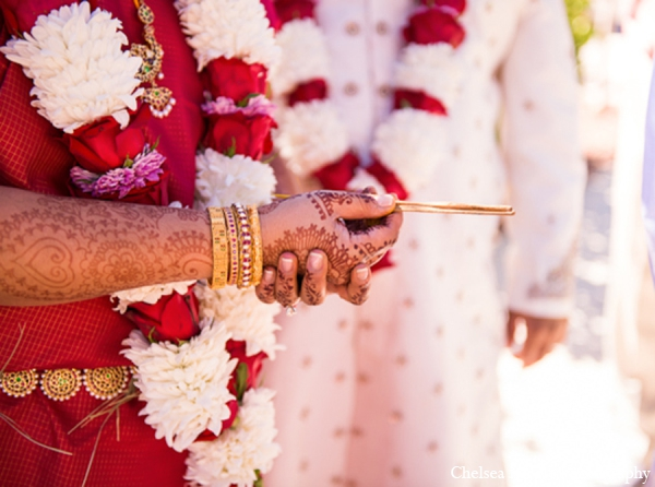 Indian wedding red white gold floral