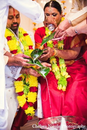 Indian-wedding tradition ceremony red gold blessing
