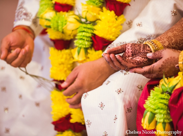 Indian wedding traditional ceremony white red yellow