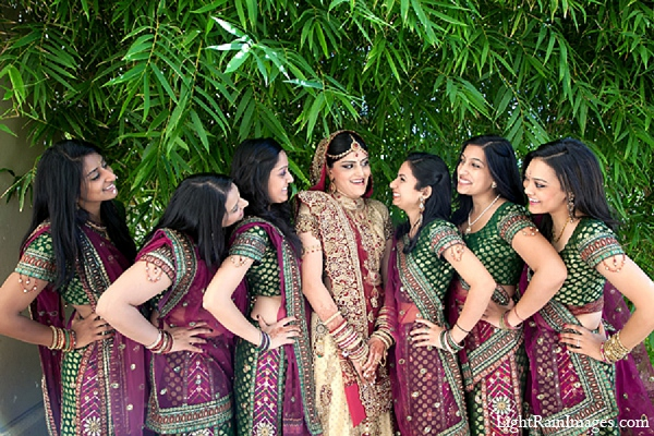 Indian wedding bridal party portraits in Phoenix, Arizona Indian Wedding by LightRain Images