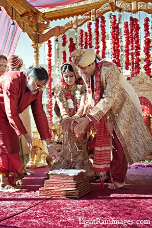 Indian wedding mandap ceremony bride groom in Phoenix, Arizona Indian Wedding by LightRain Images