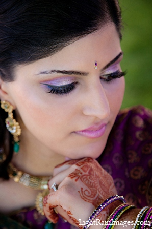 Indian wedding puja bridal makeup in Phoenix, Arizona Indian Wedding by LightRain Images
