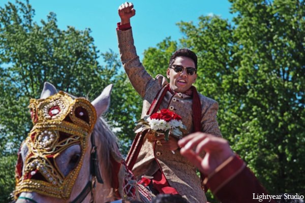 Indian wedding baraat horse in Parsippany, New Jersey Indian Wedding by Lightyear Studio