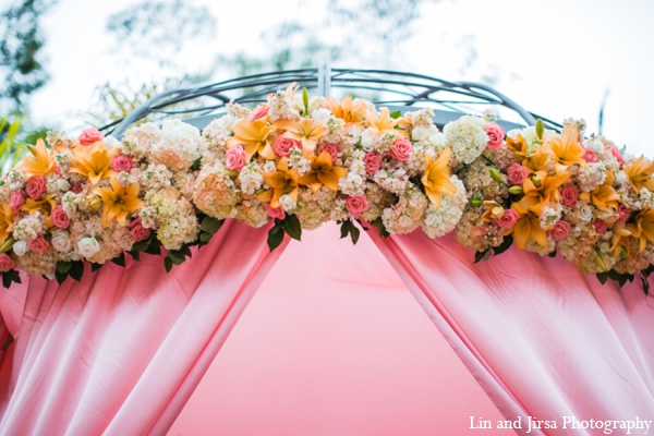 Floral mandap in Newport Beach, CA Indian Wedding by Lin and Jirsa Photography