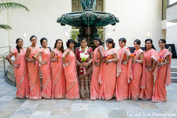 The wedding party poses for portraits following the Indian wedding ceremony.