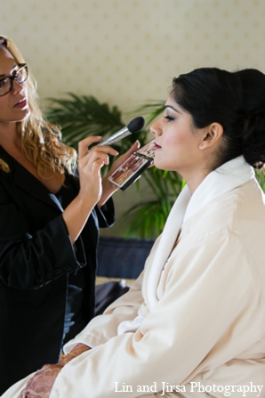 Indian wedding bride makeup in Newport Beach, CA Indian Wedding by Lin and Jirsa Photography