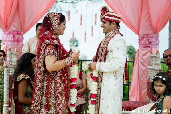 red,gold,cream,white,baby pink,ceremony,mandap,traditional indian wedding,indian wedding traditions,Lin and Jirsa Photography