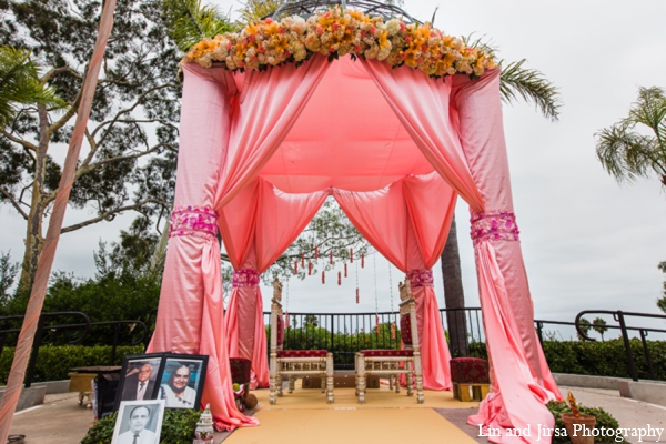 Indian wedding mandap decor in Newport Beach, CA Indian Wedding by Lin and Jirsa Photography