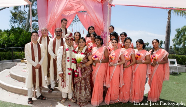 Indian wedding party in Newport Beach, CA Indian Wedding by Lin and Jirsa Photography