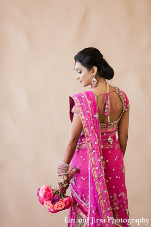 Indian wedding bridal fashion pink sari in Huntington Beach, CA Indian Wedding by Lin and Jirsa Photography
