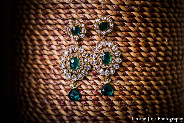 Indian wedding bridal jewelry earrings blue in Huntington Beach, CA Indian Wedding by Lin and Jirsa Photography