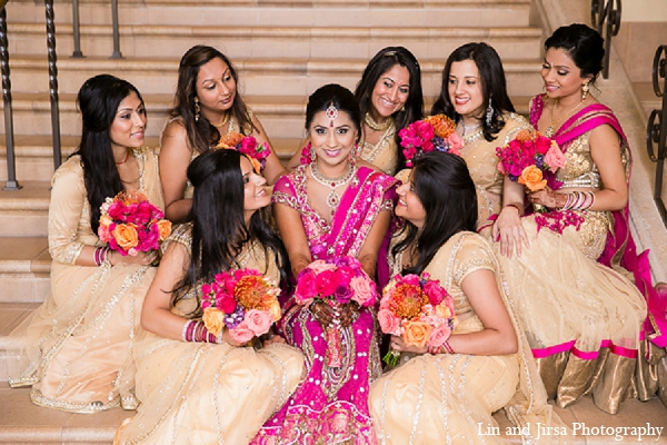 Indian wedding bride bridesmaids pink beige sari in Huntington Beach, CA Indian Wedding by Lin and Jirsa Photography