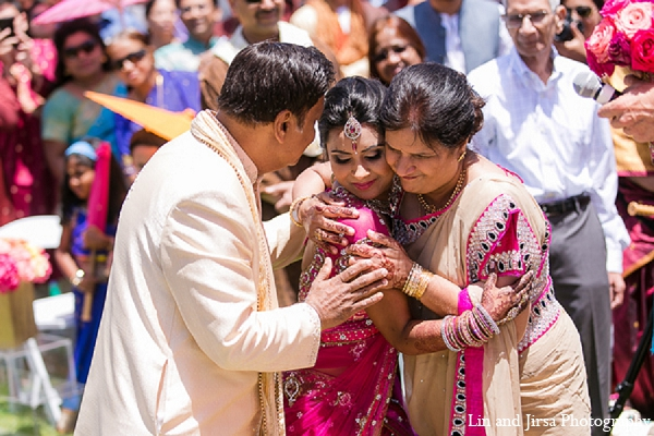 Indian wedding bride ceremony parents in Huntington Beach, CA Indian Wedding by Lin and Jirsa Photography