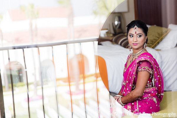 Indian wedding bride fashion pink sari in Huntington Beach, CA Indian Wedding by Lin and Jirsa Photography