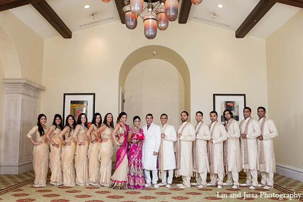 Indian wedding bride groom bridal party in Huntington Beach, CA Indian Wedding by Lin and Jirsa Photography
