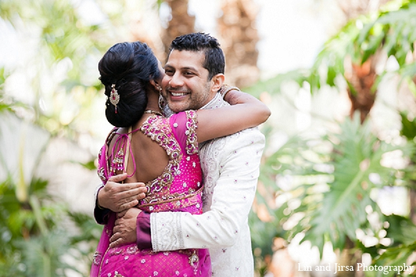 Indian wedding bride groom first look in Huntington Beach, CA Indian Wedding by Lin and Jirsa Photography